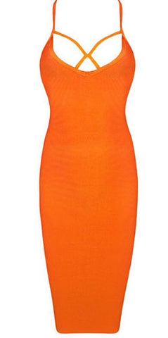 Jen Orange Strap Bandage Dress