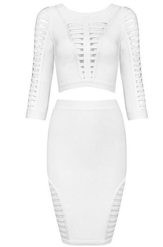 Jenna White Two-Piece Bandage Dress