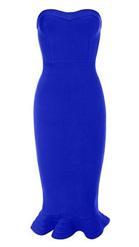Karen Blue Mermaid Strapless Dress