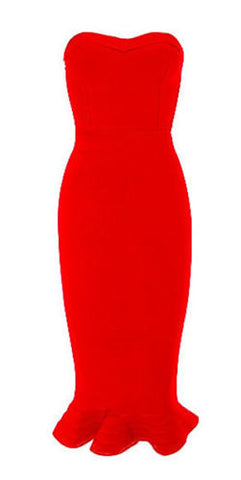 Karen Red Mermaid Strapless Dress