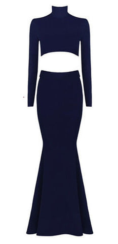 Kate Navy Blue Lace Up Back Bandage Dress
