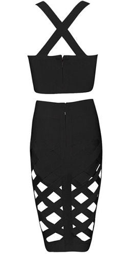 Kimmy Black Two-Piece Bandage Dress