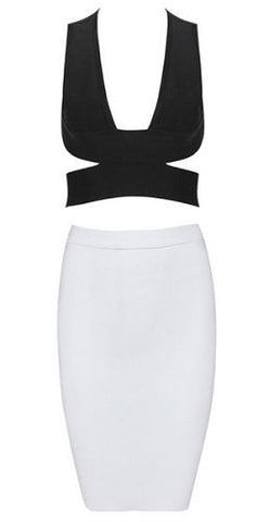 Layla Black and White Two Piece Bandage Dress