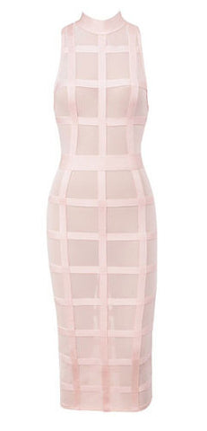 Maya Light Pink Sheer Mesh Bandage Dress