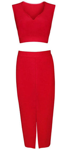 Maggie Red Two Piece Bandage Dress