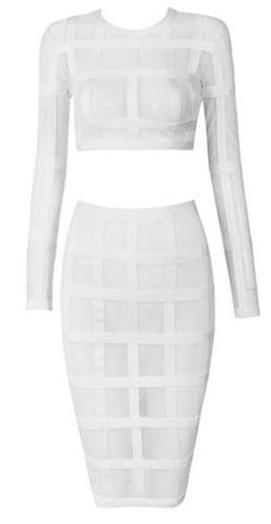 Margo White Two-Piece Sheer Bandage Dress