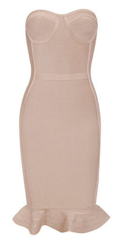 Marie Nude Strapless Fluted Hem Bandage Dress