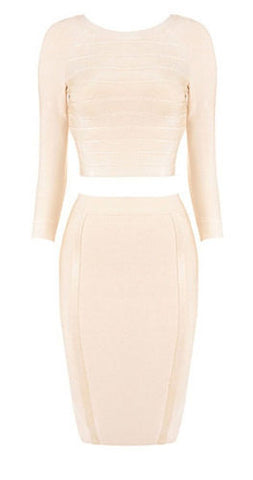Melissa Nude Long Sleeve Two Piece Bandage Dress
