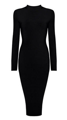 Lora  Black High Neck Long Sleeve Bandage Dress