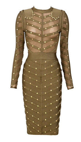 Nola Studded Mesh Bandage Dress-  Green