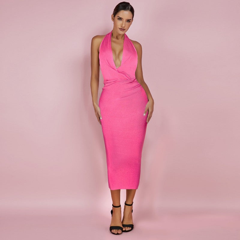 Phoenix Pink Deep V Neck Halter Midi Bandage Dress