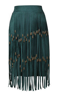 Polly Green Fringed Skirt