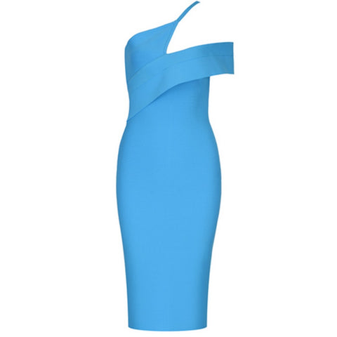 Kira Blue One Shoulder Short Sleeve Asymmetrical Dress