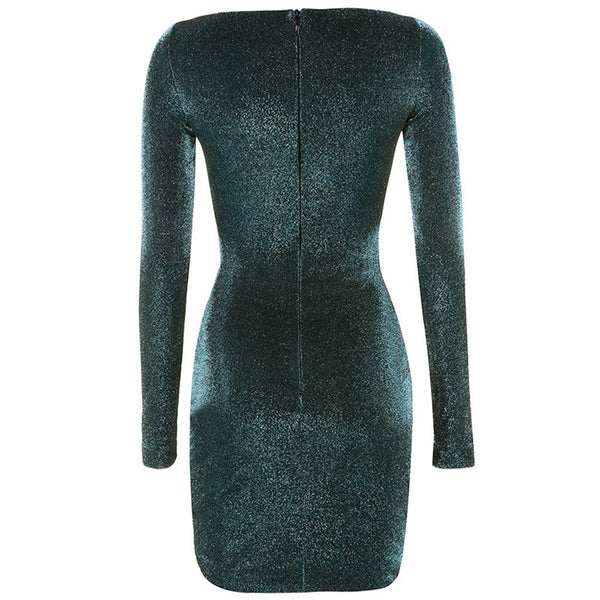 Rhonda Green Round Neck Long Sleeve Mini Dress