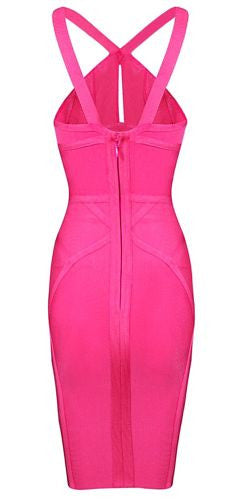 Rose Sexy Neckline Bandage Dress