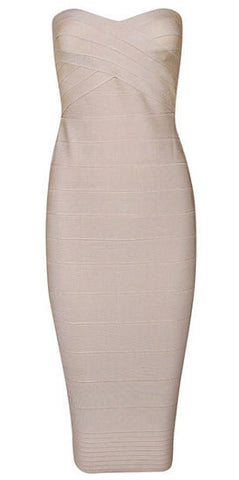 Savannah Beige Strapless Dress