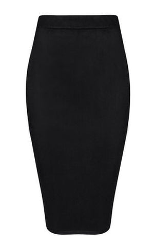 Skyler Black Suedette Pencil Skirt