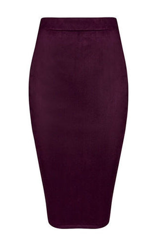 Skyler Burgundy  Suedette Pencil Skirt