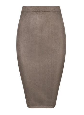 Skyler Taupe  Suedette Pencil Skirt
