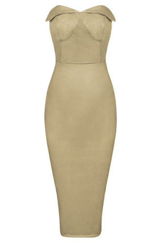 Sophia Tan Suedette Strapless Dress
