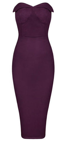 Sophia Purple Suedette Strapless Dress