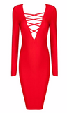 Stella Red V Neck Bandage Dress