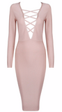 Stella Nude V Neck Bandage Dress
