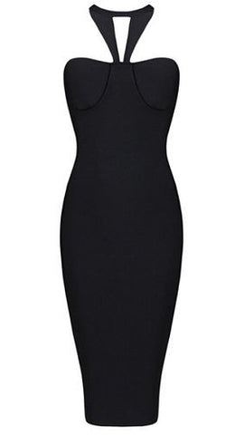 Black V-Halter Bandage Dress
