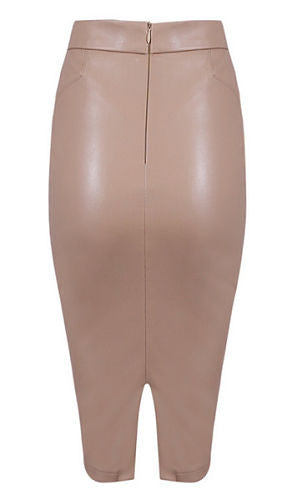 Wilma Nude Faux Leather Skirt