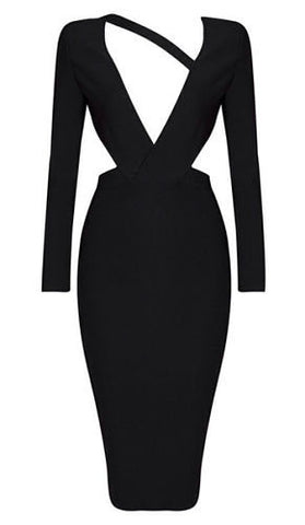 Yasmin Black Cutout Back Bandage Dress