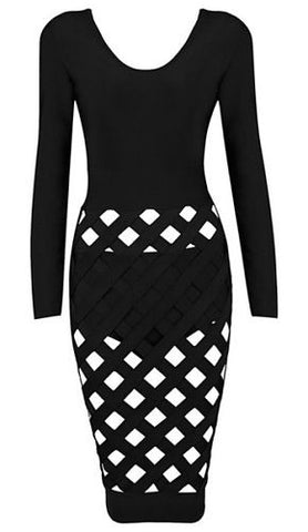 Zoe Black Long Sleeve Bandage Dress