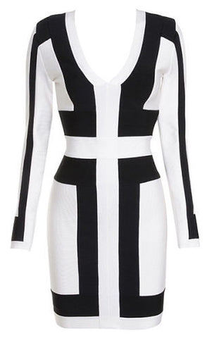 Zurie White and Black Bandage Dress