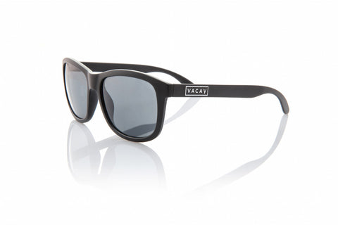 Vacay Classic Polarized Sunglass in Black Frames and Grey Lenses