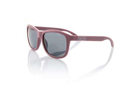 Vacay Classic Sunglass in Matte Plum Frames with Grey Lenses