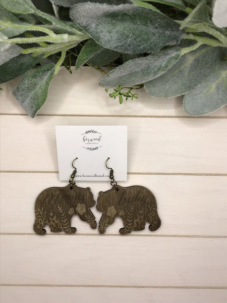 Wooden Mama and Baby Bear Earrings