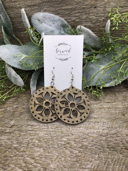Wooden Flower Earrings