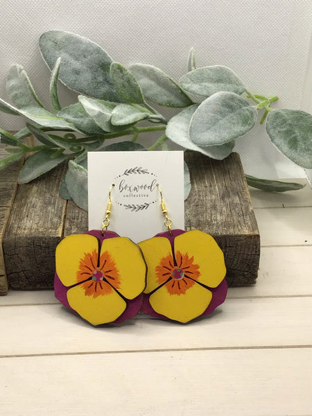 Wooden Pansy Earrings