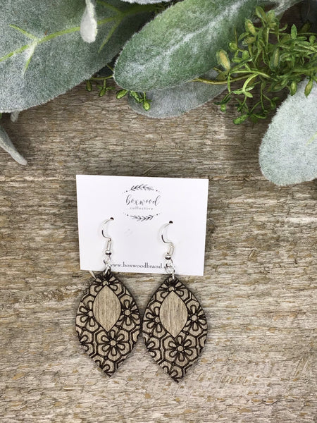 Wooden Etched Drop Earrings