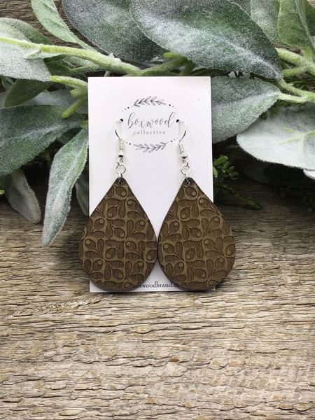 Wooden Mod Teardrop Earrings