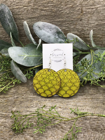 Wooden Lime Green Round Scale Earrings