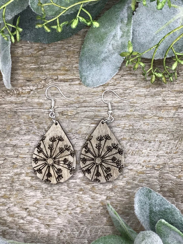 Wooden Dandelion Teardrop Earrings