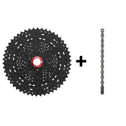 SUNRACE MX80 11 Speed 11-50T Black with SRAM PC-1110 Chain Combo