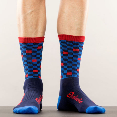 BELLWETHER Socks - Navy/Cyan/Red