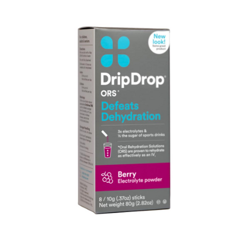 DRIP DROP Berry Flavored Electrolyte Powder (Box of 4)
