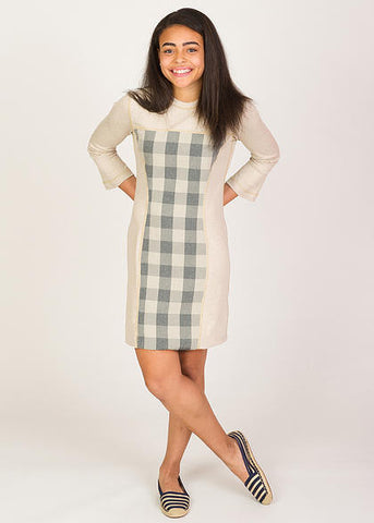 IDClothing Cream on Grey Dress for teens with Autism