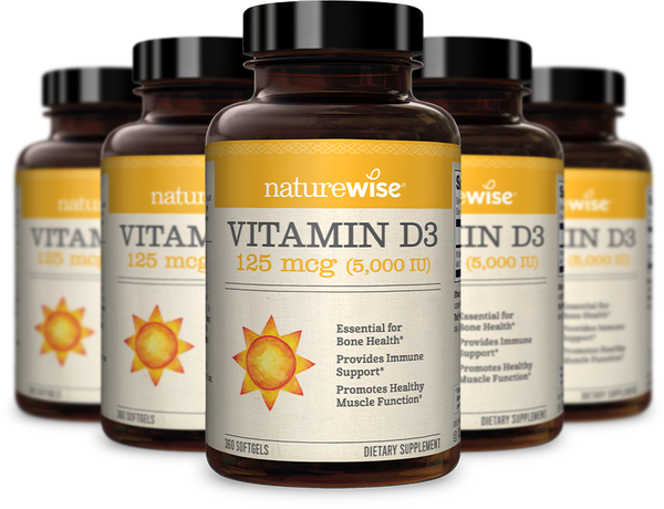 collection of NatureWise vitamin D3 bottles