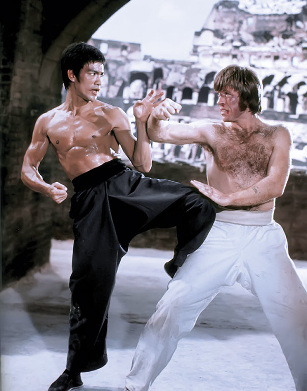 Bruce Lee fighting Chuck Norris in the 1972 movie The Way of the Dragon