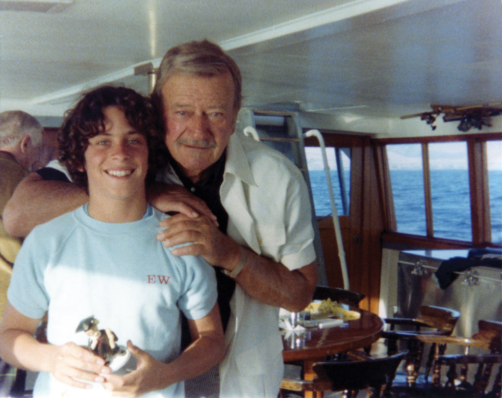 John Wayne with son Ethan Wayne aboard the Wild Goose