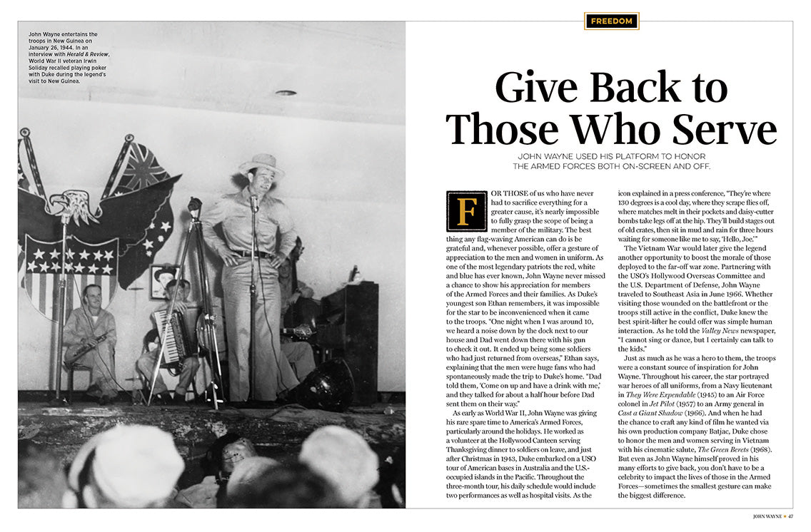 John Wayne Volume 28 Magazine Spread Give Back to Those Who Serve Story