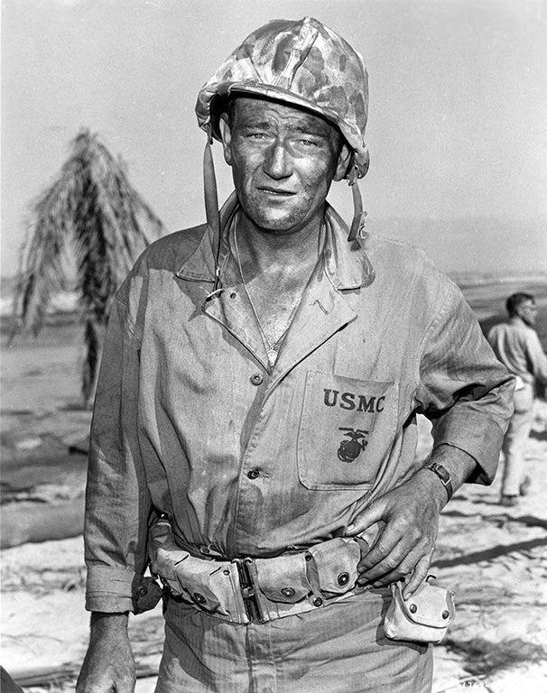 John Wayne in military uniform for Sands of Iwo Jima movie